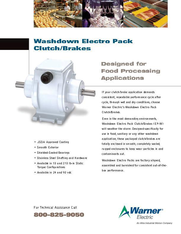 Washdown Electro Pack Clutch/Brakes for Food Processing Applications