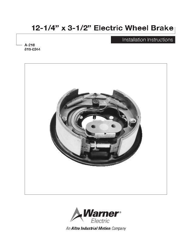 "12-1/4"" x 3-1/2"" Electric Wheel Brake Installation"