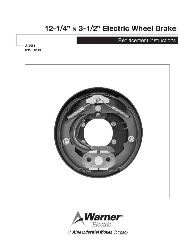 "12-1/4"" × 3-1/2"" Electric Wheel Brake"