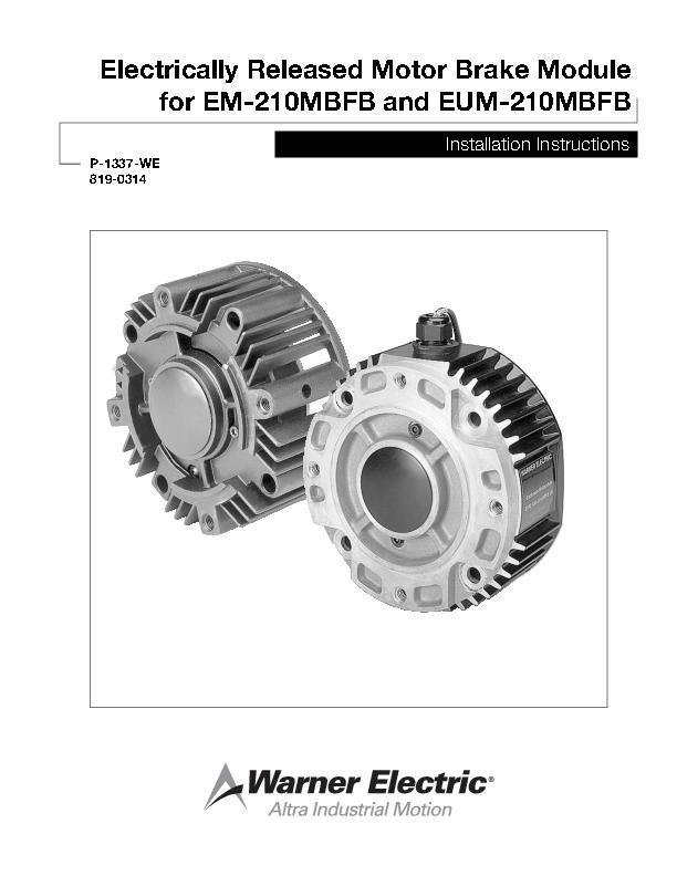 Electrically Released Motor Brake Module for EM-MBFB & EUM-MBFB