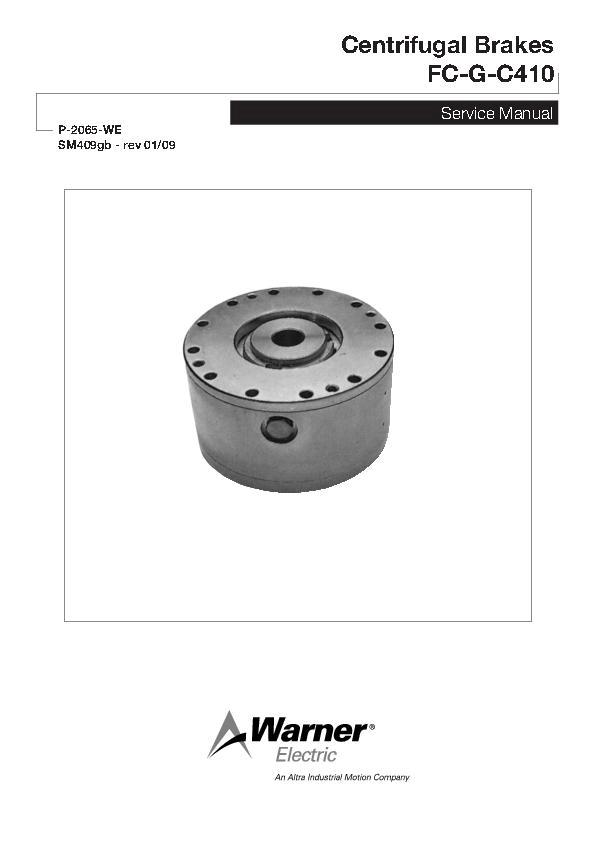 Centrifugal Brakes FC-G-C410 Service Manual