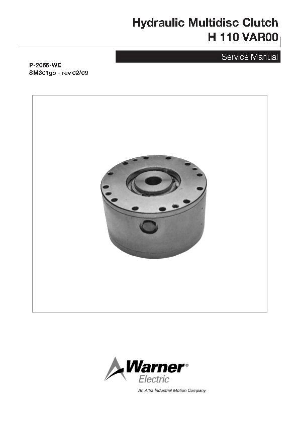 Hydraulic Multidisc Clutch H 110 VAR00 Service Manual