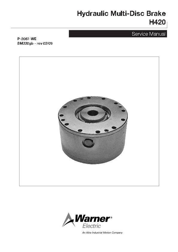 Hydraulic Multi-Disc Brake H420 Service Manual