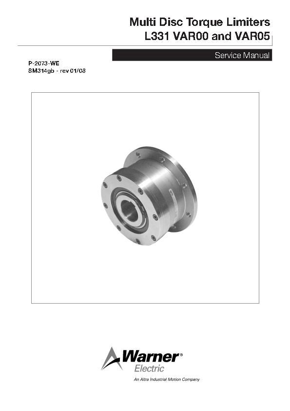 Multi Disc Torque Limiters L331 VAR00 & VAR05 Service Manual