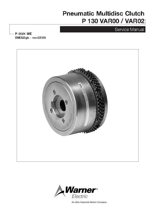 Pneumatic Multidisc Clutch P 130 VAR00 / VAR02 Service Manual