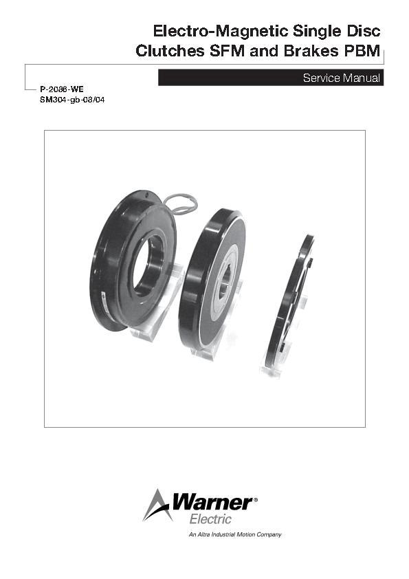 Single Disc Clutches SFM & Brakes PBM Service Manual