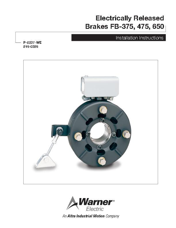 Electrically Released Brakes FB-375, 475, 650 Installation
