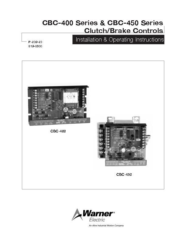 CBC-400 & CBC-450 Series Clutch Brake Controls Install & Operation