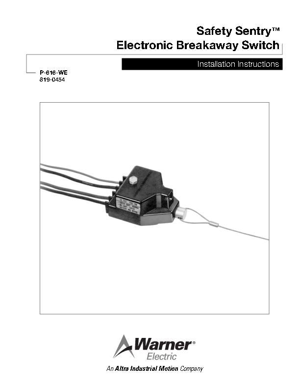 Safety Sentry Electronic Breakaway Switch Installation